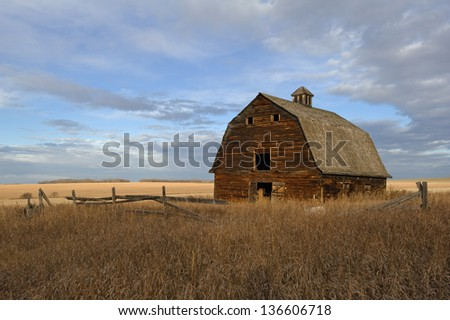Abandoned barn in field of dry grass in fall - stock photo