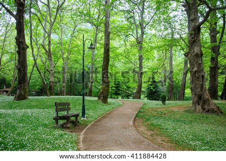 Abandoned bench with street lamp near sidewalk in park - stock photo