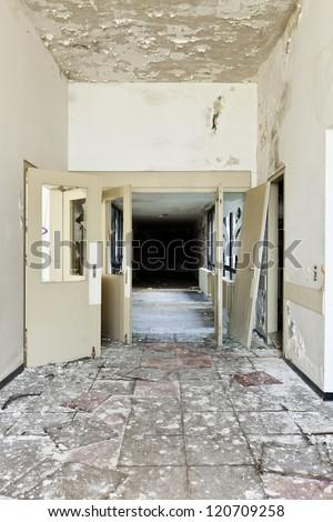 abandoned building, door broken - stock photo