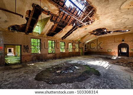 Abandoned building from the Manteno State Mental Hospital in Manteno, Illinois - stock photo