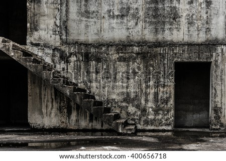 Abandoned building ghost living place, darkness horror and halloween background concept - stock photo