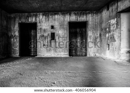 Abandoned building ghost living place with two doors, darkness horror and halloween background concept - stock photo