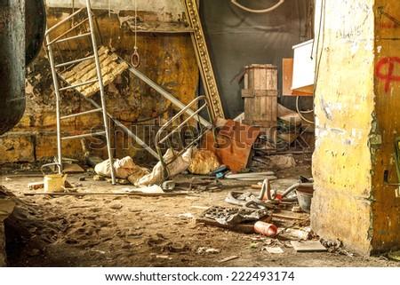 Abandoned building interior. Old damaged hotel. - stock photo
