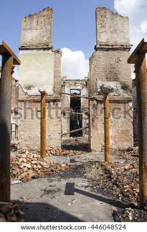 Abandoned building. Ruins background - stock photo