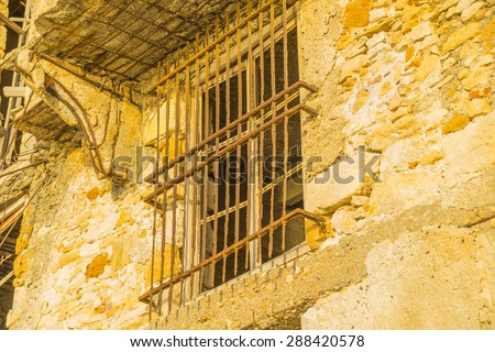 Abandoned buildings in industrial area, Chania, Crete - stock photo