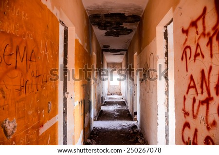 Abandoned Buildings of a Military Base in Tenerife Canary Islands Spain - stock photo