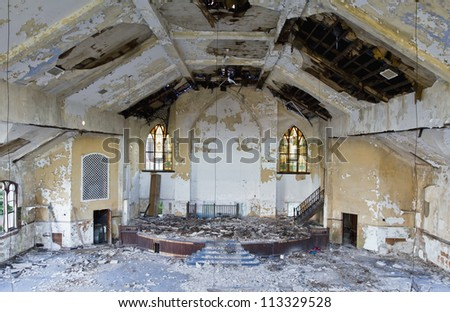 Abandoned church in Detroit Michigan. - stock photo