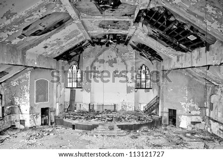 Abandoned church interior in Detroit Michigan.