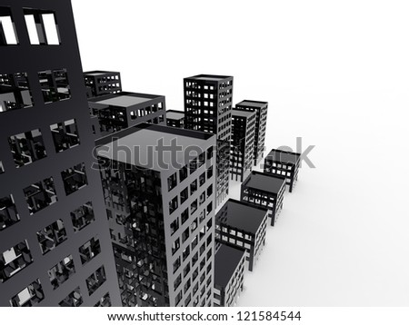 Abandoned City Sustainable City on a white background - stock photo