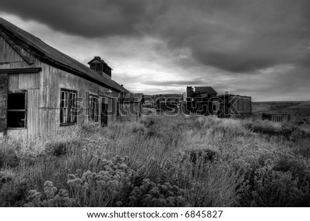 abandoned coal mine, high dynamic range image converted to b&w