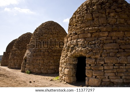 Abandoned coke ovens left over from mining industry in the  desert of Arizona. - stock photo