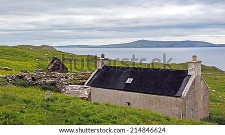 Abandoned crofts (small farms) south of Lerwick in the Main Shetland Island northeast of Scotland, United Kingdom - stock photo