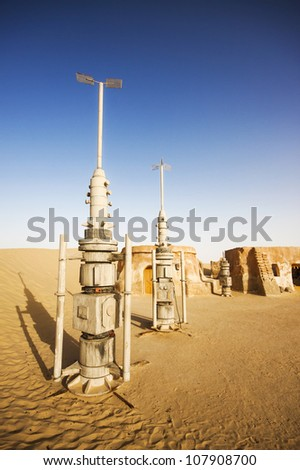 "Abandoned decoration from film ""Star Wars"" (Tatooine planet), Sahara desert, Tunisia"