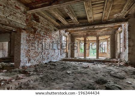 Abandoned, dilapidated palace in Poland - stock photo