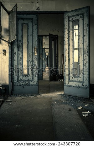 Abandoned door interior closeup photo - stock photo