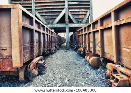 Abandoned facilities freight cars, old trains wagon in mines Tharsis - Former mine in Spain - stock photo