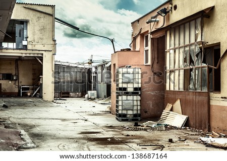 Abandoned factory after the economic crisis. - stock photo