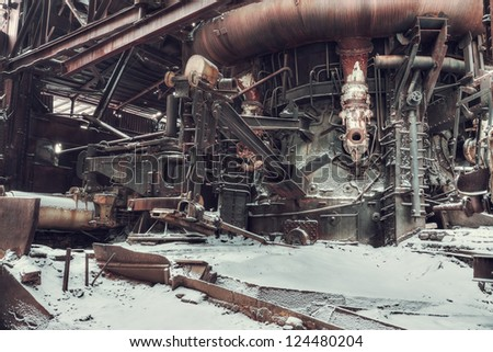 abandoned factory, industrial background - stock photo