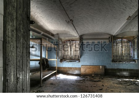 Abandoned factory warehouse (HDR) - stock photo