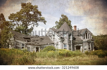 Abandoned, falling down house. Textured to look like an old photograph.  - stock photo