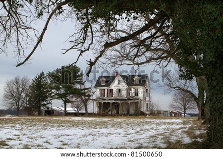 Abandoned Farmhouse on a Winter Day