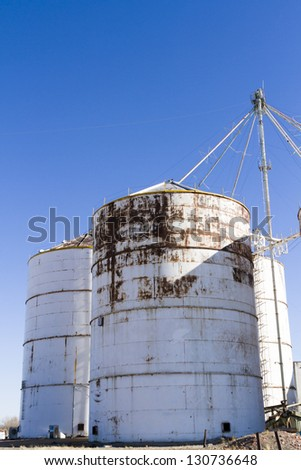 Abandoned feed silos in rural area.