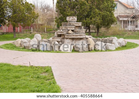 Abandoned fountain near the house of culture of the seaside village of Vityazevo, on the outskirts of the city of Anapa