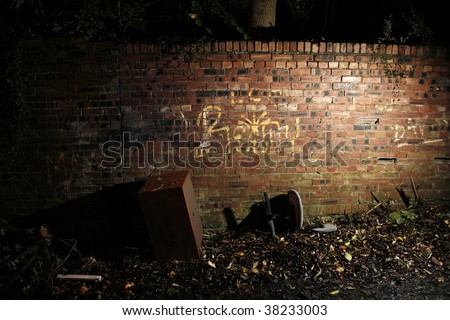 Abandoned Furniture in Alleyway - stock photo