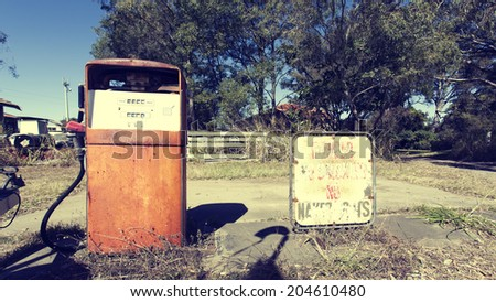 Abandoned gas station in Queensland - stock photo