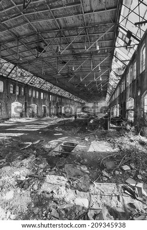 Abandoned hall shipyard Gdansk, Poland - stock photo