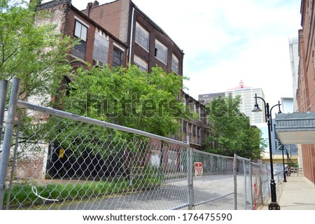 """Abandoned, Historic """"Whiskey Row"""" Building in Downtown Louisville, KY USA - stock photo"""