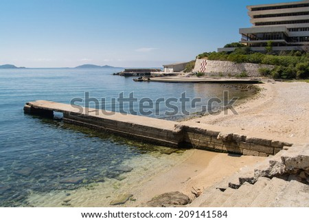 Abandoned hotel after the war in Croatia - stock photo