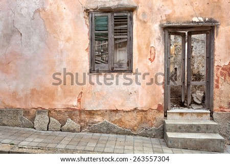 Abandoned house after an earthquake - stock photo