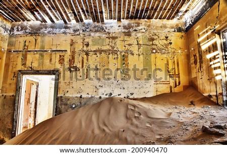 abandoned house in Namibia desert - stock photo