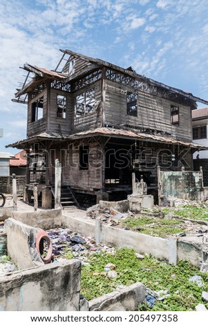 abandoned house in thailand - stock photo