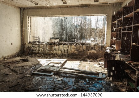 Abandoned house interior in Chernobyl - stock photo