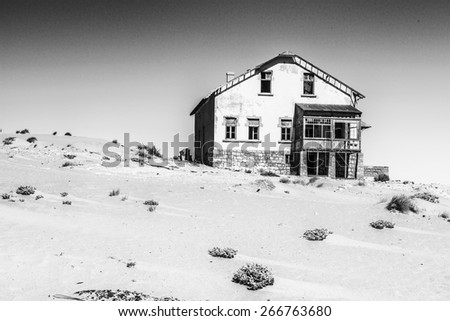 Abandoned house of   Kolmanskop. It was settled by German in 1908 with a purpose of diamond searching