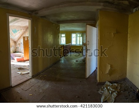 abandoned house ruined house, abandoned building, mess, ruined interior, panorama - stock photo