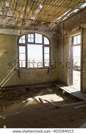 abandoned houses in the ghost town Kolmanskop, Namibia