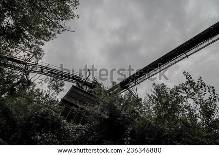 Abandoned Industrial Gravel Quarry and Sand Stone Refinery - stock photo