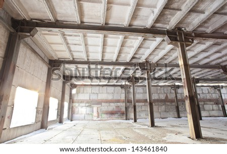 abandoned industrial hall in factory - stock photo