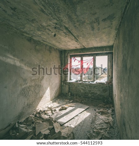 Abandoned interior in ruins of military settlement. City of Skrunda in Latvia - instant vintage square photo