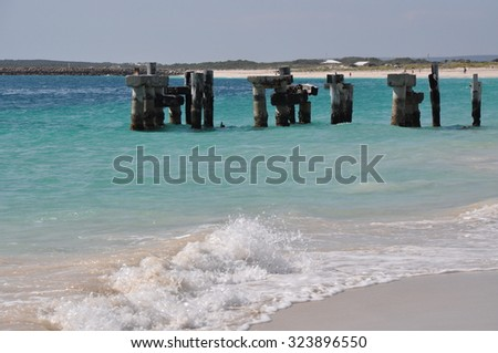 Abandoned Jetty/Jurien Bay Abandoned Jetty in the Distance/Western Australia