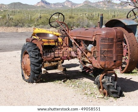 abandoned junked tractor