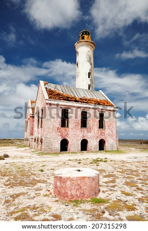 Abandoned Lighthouse In Klein Curacao - stock photo