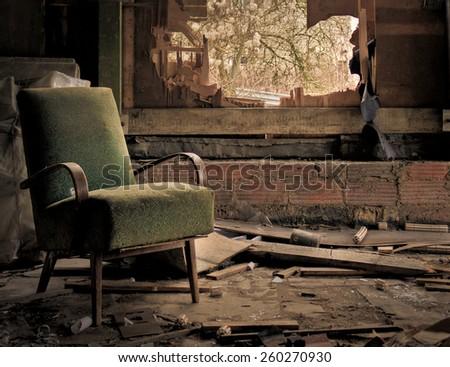 Abandoned Living room - stock photo