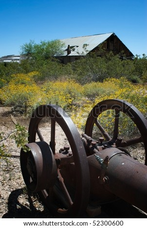 Abandoned machinery and building at Vulture Mine, Arizona