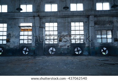 Abandoned metallurgical factory interior and building waiting for a demolition - stock photo
