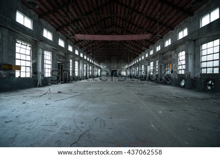 Abandoned metallurgical factory interior and building waiting for a demolition