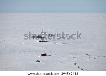 Abandoned military antenna in Arctic, aerial view  - stock photo